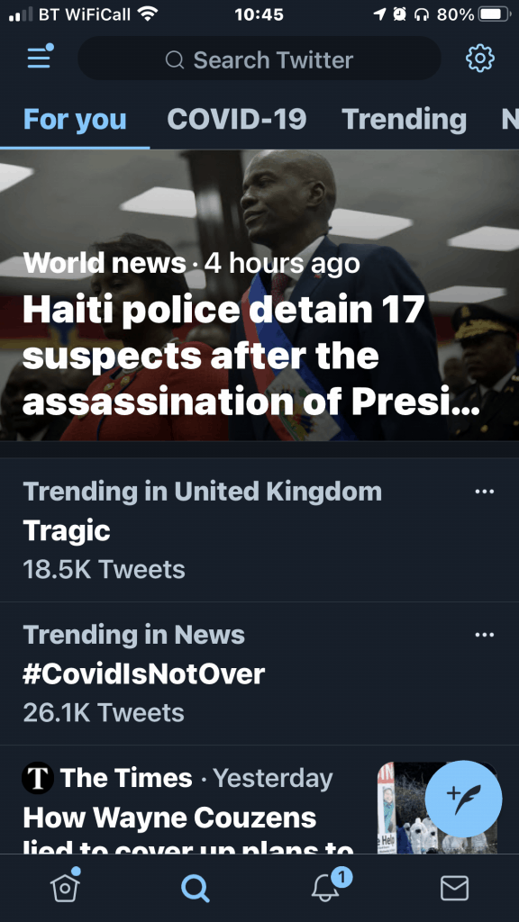 The Twitter iPhone App, For You screen, from July 10th 2021, showing option in the top right for Trending.