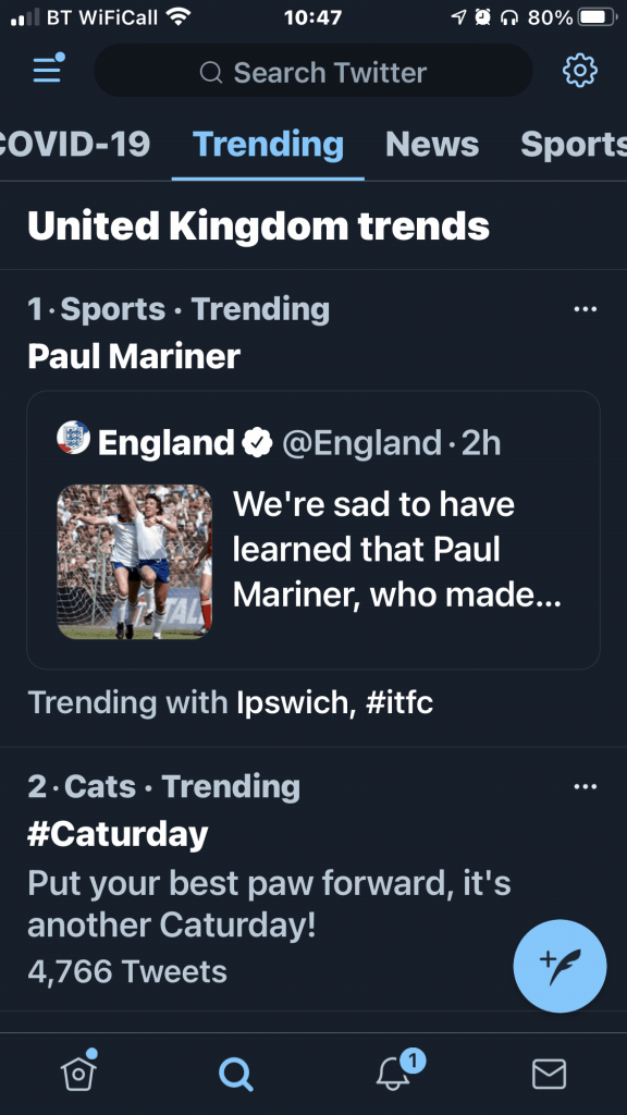 The Twitter iPhone App - Trending Tweets screen from July 10th 2021.