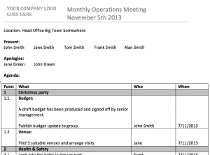 Integrated meeting minutes and agenda template.