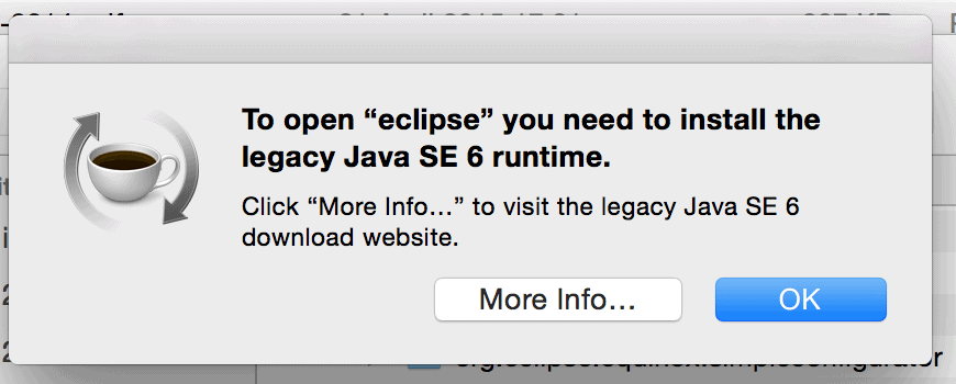 OSX Eclipse asking for Java 6 to be installed.