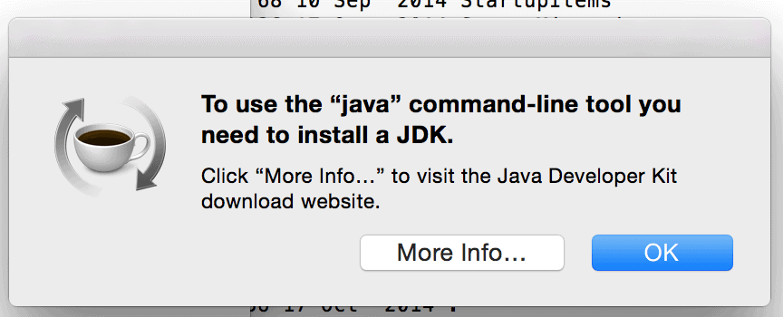 OSX prompt to install the Java JDK