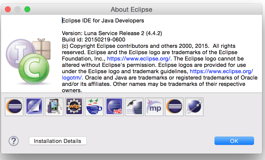 Eclipse OSX About Box