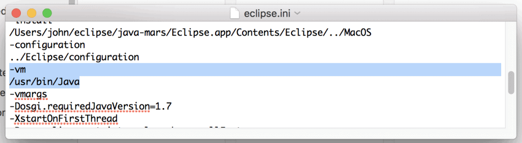 OS X eclipse.ini vm setting for Java