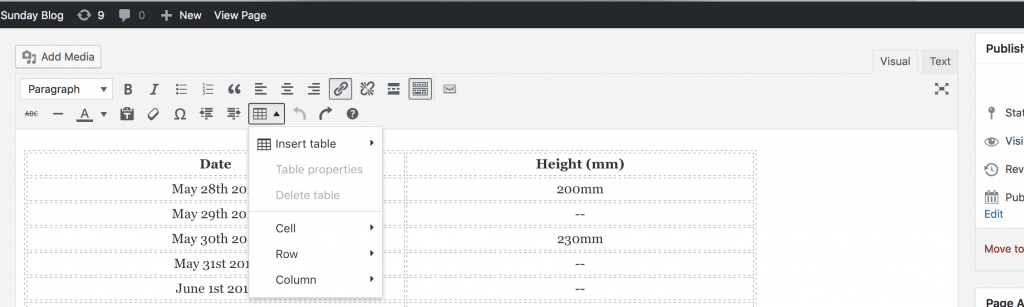 Wordpress Editor with Insert Table function enabled.