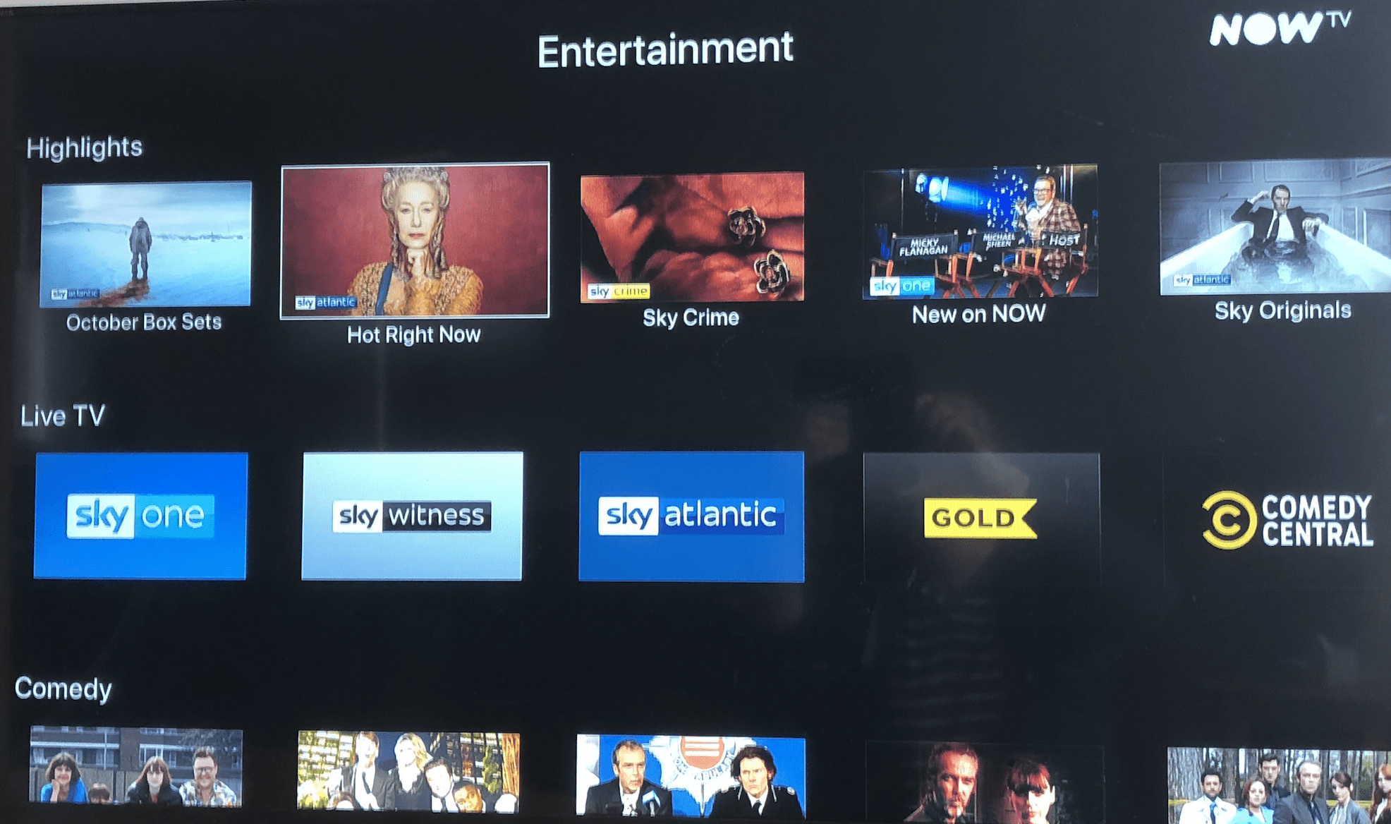 NOW TV showing available SKY channels on Apple TV