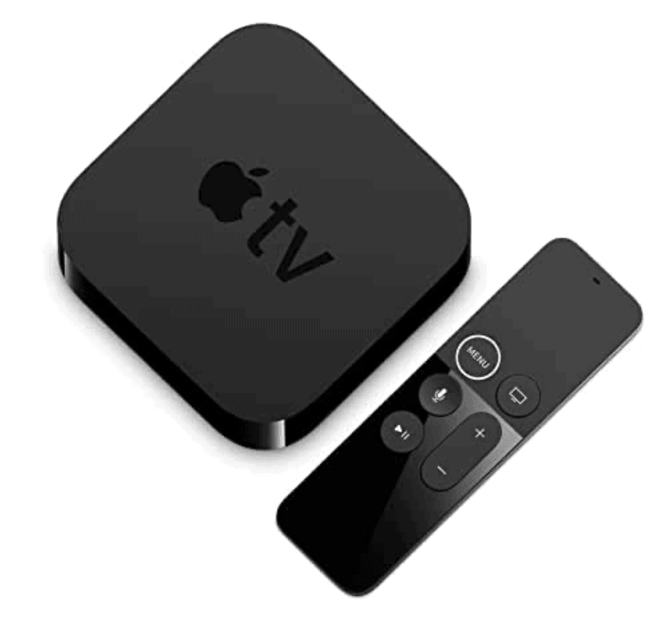 Picture of the black cube shaped Apple TV and Siri remote.