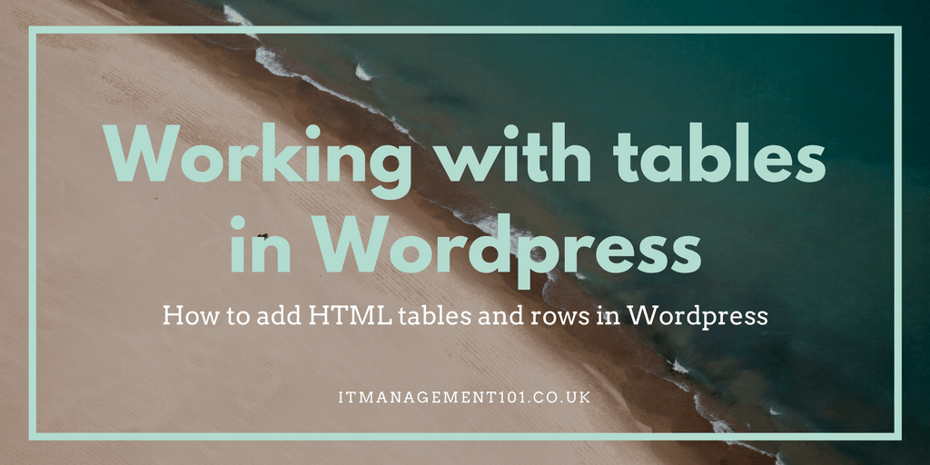 How to insert a table / row into a WordPress page.
